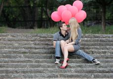 Young loving couple in park Stock Photo