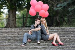 Young loving couple in park Stock Images