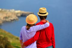 Young loving couple on scenic sea vacation Stock Image