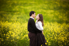 Couple on field. Royalty Free Stock Photos