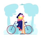 Young Loving Couple Sitting on Bicycle and Kissing Outdoors. Romantic Human Relations, Love Story, Newlywed Family in Honeymoon. Traveling Adventure, Passion vector illustration