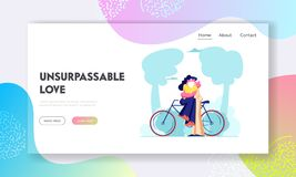 Young Loving Couple Sitting on Bicycle and Kissing Outdoors. Romantic Human Relations, Love Story, Newlywed Family Honeymoon. Website Landing Page, Web Page royalty free illustration