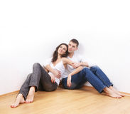 A young loving couple in stylish jeans Stock Photography