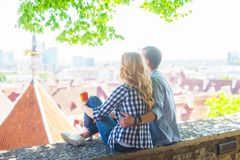 Young loving couple traveling to Tallinn. Love, relations and tourism concept. royalty free stock photography