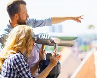 Young loving couple traveling to Tallinn. Love, relations and tourism concept. stock photography