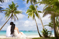 Young loving couple on tropical sea background Royalty Free Stock Photography