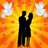Young loving couple and two white fondling Stock Images