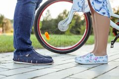 Young loving couple is walking in park Royalty Free Stock Photography