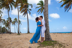 Young loving couple wedding near the boat.  Royalty Free Stock Photos