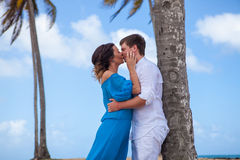 Young loving couple wedding near the boat.  Stock Images