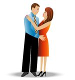 Young loving couple on a white background Stock Image