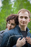 Young loving couple wife and husband outdoor Stock Images