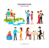 Young loving couples spend their time together in different settings. Young couple in love, relax on bench in park, walks the streets of city, dance beautiful royalty free illustration