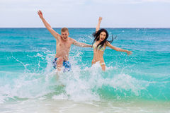 Young loving happy  couple on tropical beach Stock Photography