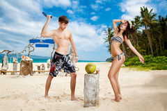 Young loving happy  couple on tropical beach Royalty Free Stock Photo