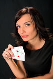 Young lucky gambler with cards Royalty Free Stock Images