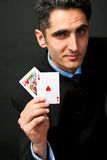 Young lucky gambler with cards Royalty Free Stock Photo