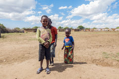 Young Maasai children in their village Royalty Free Stock Images