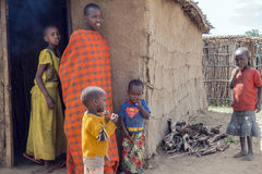 Young Maasai children in their village Stock Image
