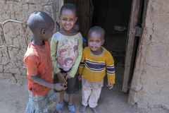 Young Maasai children in their village Stock Photos