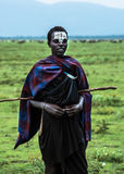 Young Maasai warrior or junior Moran, with headdress and markings. Young Maasai warrior or junior Moran, with headdress, black shaka cloth and markings Royalty Free Stock Image