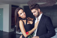 Young macho man give rose to woman Stock Image