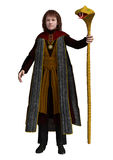 Young Mage. 3D digital render of a young mage with a snake staff in the hand isolated on white background Royalty Free Stock Photos