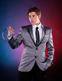 Magician with silver metal rings Royalty Free Stock Image