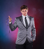 Magician with silver metal rings Stock Image