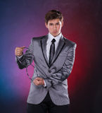 Magician with silver metal rings Royalty Free Stock Photography