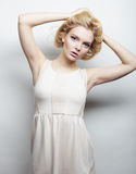 Young magnificent woman in white dress. Stock Image