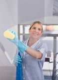 Young Maid With Bottle And Sponge Royalty Free Stock Photo