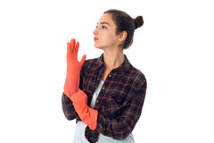 Young maid woman with cleansers Stock Images