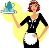 Young maid woman with dishes Royalty Free Stock Photography
