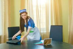 Young maid working. Housemaid cleaning office. Employment outlook in hospitality industry Royalty Free Stock Images