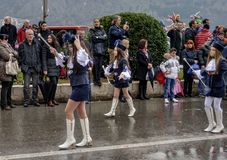 Young majorettes in carnival. Kotor, Montenegro - March 1, 2015. Participants of traditional winter carnival: parade of young majorettes Stock Photos