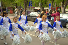 Young majorettes parade Stock Photography