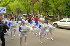 Young majorettes parade Royalty Free Stock Images