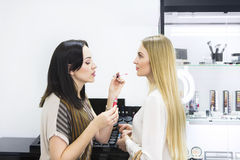 Young makeup artist doing makeover to pretty model Stock Photo