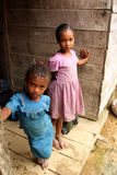 Young malagasy girls. Young girls on the porch of their hut, Vanilla Coast, Masoala, Madagascar Stock Images
