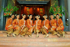 Young malay teens. In songket traditional dress Stock Photos