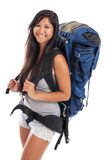 Young Malaysian backpacker. A happy young Malaysian woman wearing a backpack isolated on white Stock Photo