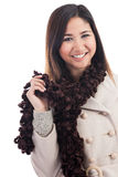 Young Malaysian woman wearing winter clothing Stock Images