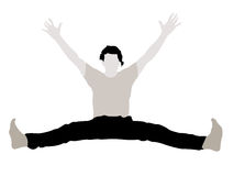Young male with arms up stretching his legs Royalty Free Stock Images