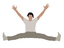 Young male with arms up stretching his legs Stock Images