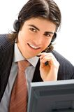 Young male assistant. With headset Royalty Free Stock Photo