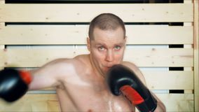 Young male athlete training in boxing gym.  stock footage