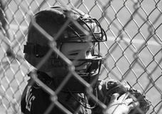 Young male baseball player. Youth male baseball player in catchers gear Stock Image
