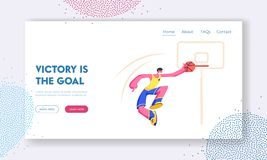 Young Male Basketball Player Score Goal into Basket. Championship or Team Competition, Sportsman in Motion Jumping. With Ball. Website Landing Page, Web Page stock illustration