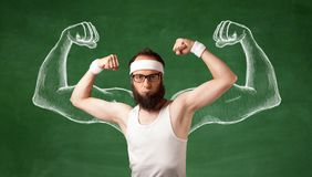 Skinny young man working out royalty free stock photos